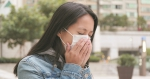 Woman coughing with wearing face mask at outdoor - http://msk.mr7.ru/